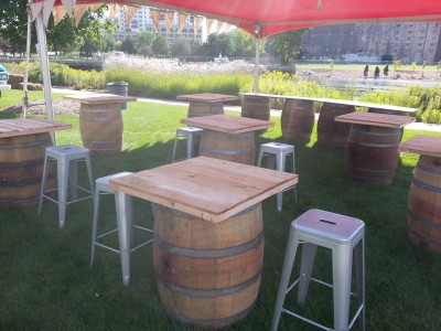 wine barrel square top rental