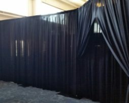 black room wall drape rental
