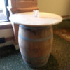 round wood top for wine barrel rental