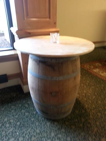 round wood top for wine barrel rental