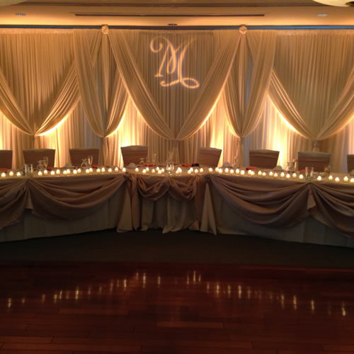 5 joining hands ivory wedding backdrop