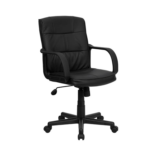 Black Leather Mid Back Office Chair Al Chicago
