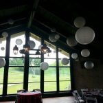 Hung ceiliing drape chinese white paper lanterns wedding reception chicago