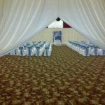 white door drape draping rental