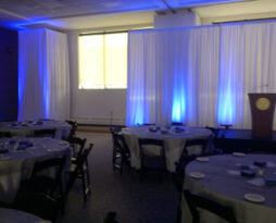 white backdrop pipe drape rental