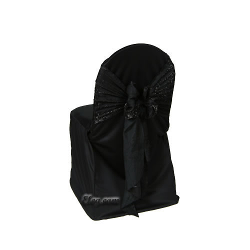 black satin lamour small banquet chair cover