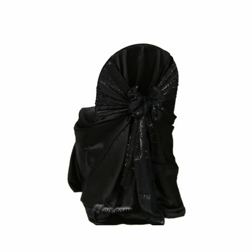 black satin lamour wrap chair cover sash