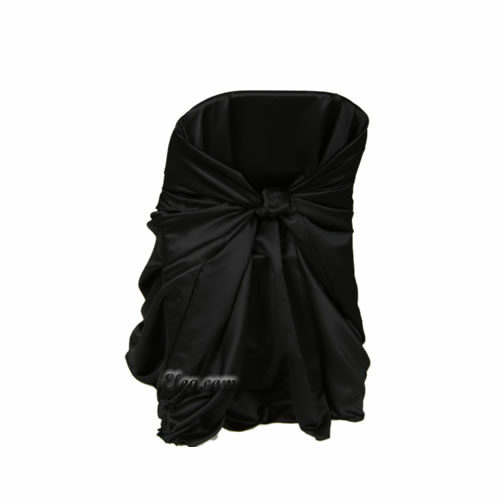 black satin lamour wrap folding chair cover
