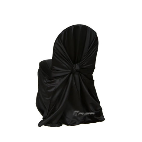 black satin wrap chair cover