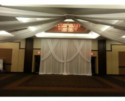 ceiling drape white special wedding event chicago backdrop
