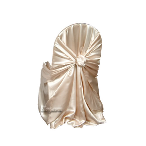 Champagne Satin Wrap Chair Cover