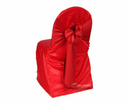 cherry red lamour satin banquet chair cover