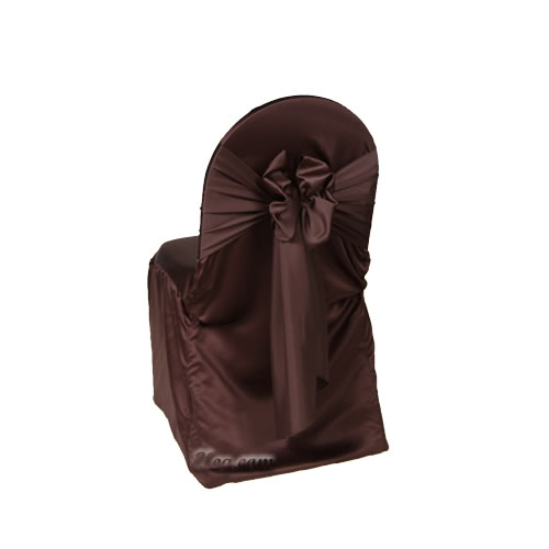 chocolate lamour satin banquet chair cover