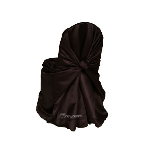 Chocolate Satin Wrap Chair Cover
