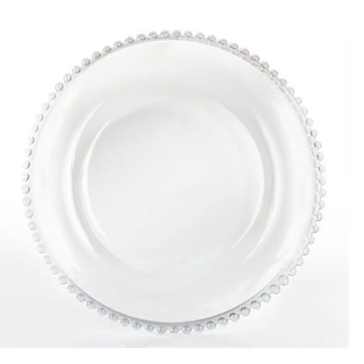 clear beaded glass charger plate service plate