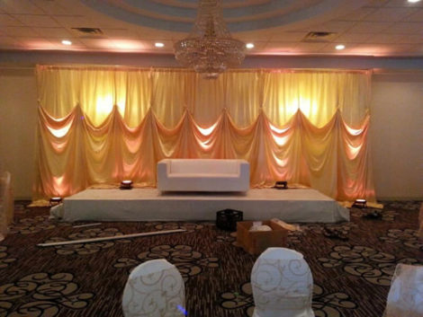 colored fabric wedding backdrop rental