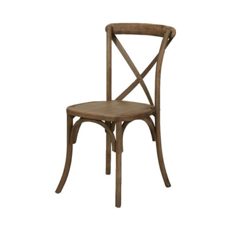 French country farm xback x-back walnut brown chair rental