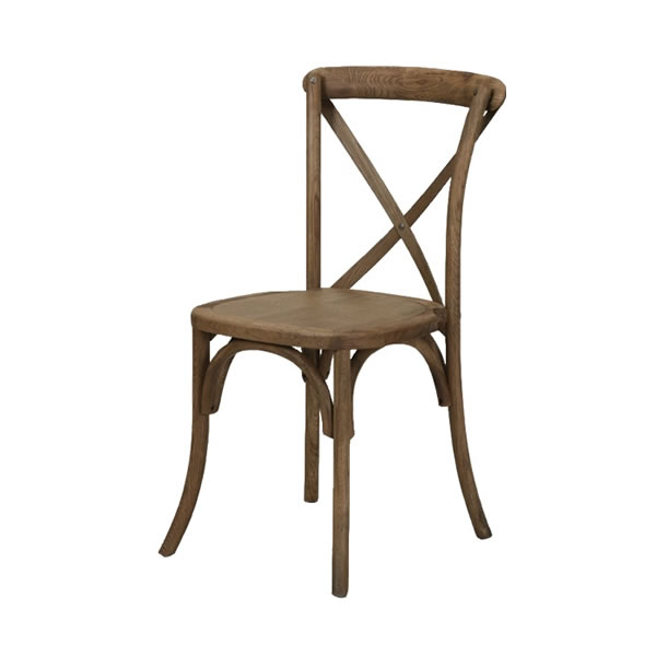 Elegant French Country Farm Xback X Back Walnut Brown Chair Rental