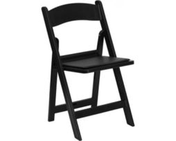 black wood resin plastic folding chair garden rental chicago