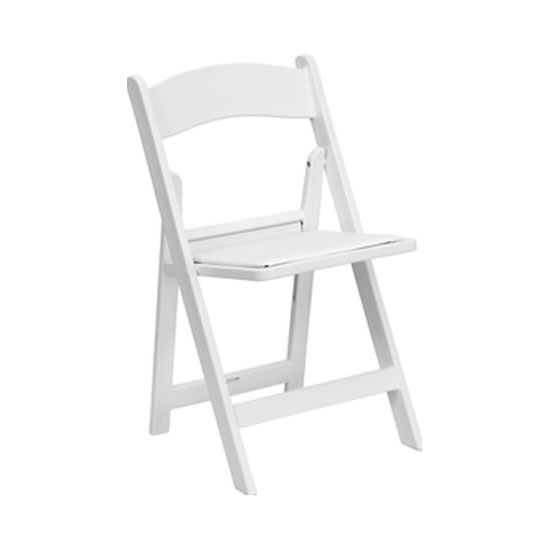 folding garden chair white resin wood rental Chicago suburbs