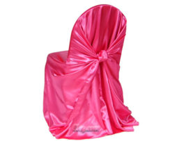 garden fuchsia satin wrap chair cover