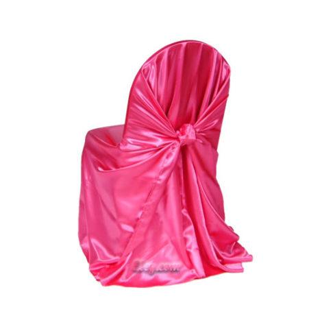 garden fuchsia satin wrap chair cover