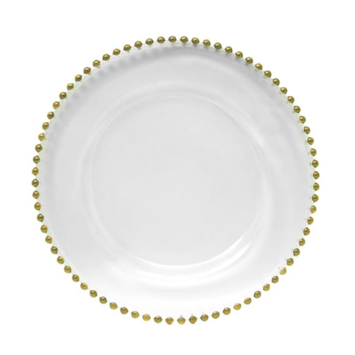 gold beaded glass charger plate service plate