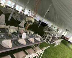 grey wash harvest table rental