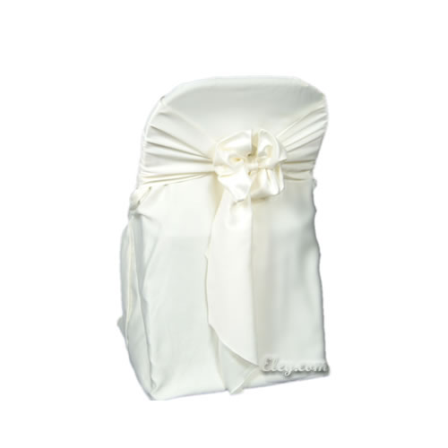 ivory lamour satin folding chair cover