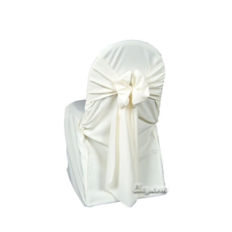 ivory poly polyester banquet chair cover