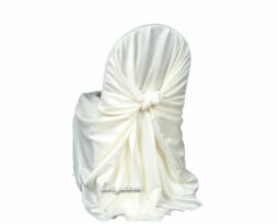 ivory satin lamour wrap chair cover