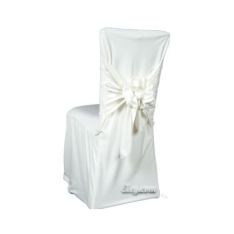 white wrinkle free square chair cover
