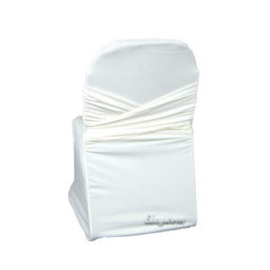 ivory wrinkle free swagback no sash chair cover