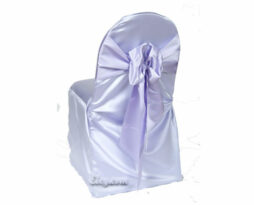lilac lamour satin banquet chair cover