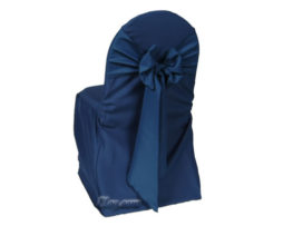 navy poly polyester small banquet chair cover