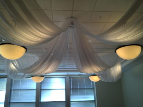 hung ceiling fabric white drape rentals Chicago lighting special wedding events