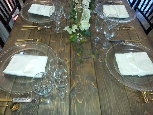 table setting French country farm walnut brown table rental