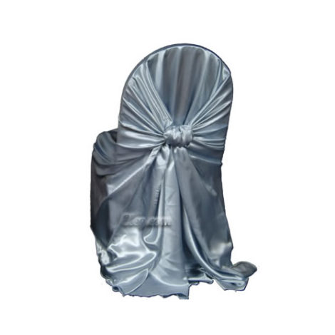 resort blue satin wrap chair cover