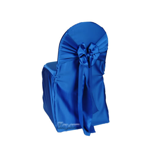 royal blue lamour satin small banquet chair cover