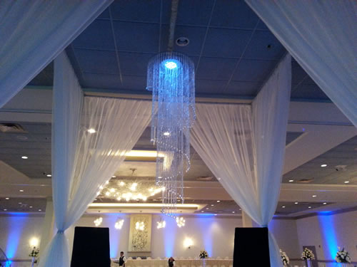 Crystal chandelier spiral egpres ceiling drape drapery wedding crystal beading chandeliers mozeypictures Choice Image