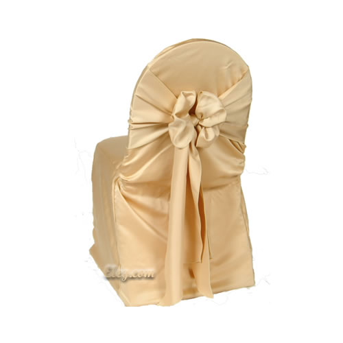 victorian gold lamour satin banquet chair cover