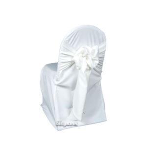 white lamour satin banquet chair cover