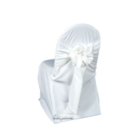 white lamour satin banquet chair cover
