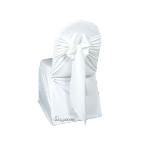 white poly polyester banquet chair cover rental