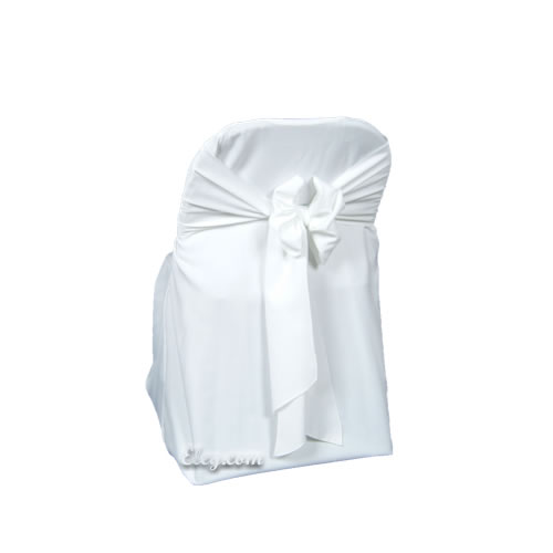 white poly polyester folding chair cover