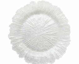 white reef glass charger plate service plate