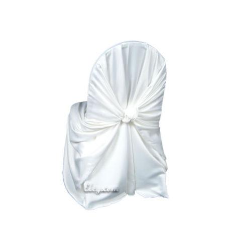 white satin lamour wrap chair cover