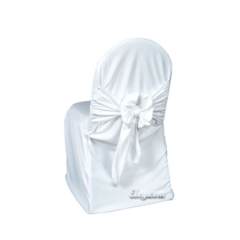 white wrinkle free easy sash chair cover