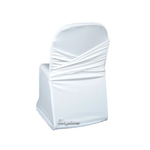 white wrinkle free swagback no sash chair cover