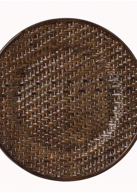 brown wicker service charger plate